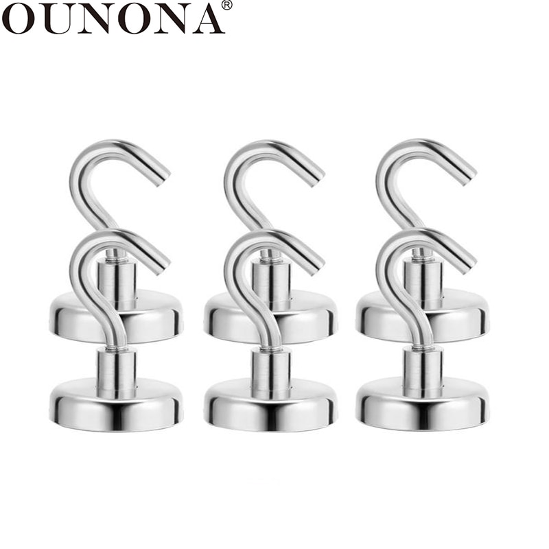 DOITOOL 8PCS Magnetic Hooks for Hanging Heavy Duty Neodymium Magnet Hooks,Indoor//Outdoor Magnet Hanging Hook for Cruise Cabins,Refrigerator,Key for Home,Kitchen,Bathroom,Office and Garage D16