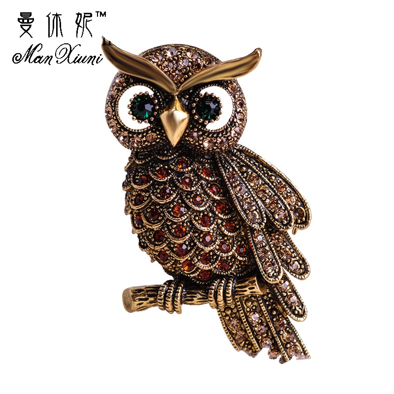 New Crystal Moon Owl Brooches Brooch Pin Badge Emblem Corsage Pins Gold-Color Animal Women Girl Men Hijab Wedding Party Bride Banquet Jewelry Gifts