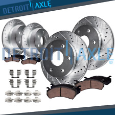 Rear Brake Rotors Ceramic Pads Drilled /&Slotted For 2007-2010 GMC Sierra 3500 HD