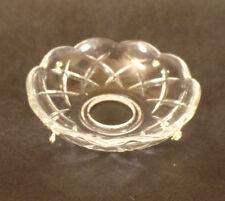 """4/"""" ~ CRISSCROSS Pressed Glass Bobeche Lamp Chandelier ~ 4 Brass Pins ~ #B900"""