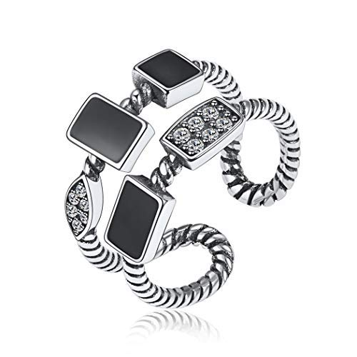Fashion Guitar//Stylish Rings for Women Men 925 Sterling Silver Hip Hop Jewelry Adjustable Statement Ring with Gift Box