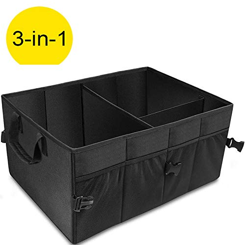 Trunk/… Car Trunk Organizer with Foldable Cover Black Heavy Duty Collapsible Car Trunk Storage Organizer with 6 Compartments Adjustable Divider Suv Car Cargo Storage Box for Auto
