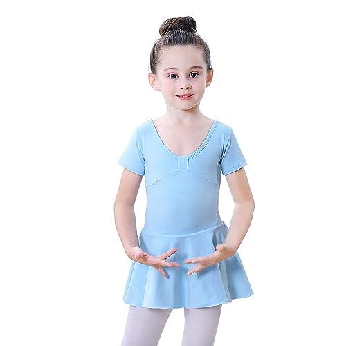Soudittur Girls Ballet Dresses Dance Leotards with Skirt Tutu Cotton Short Sleeve Costume Dancewear for Kids