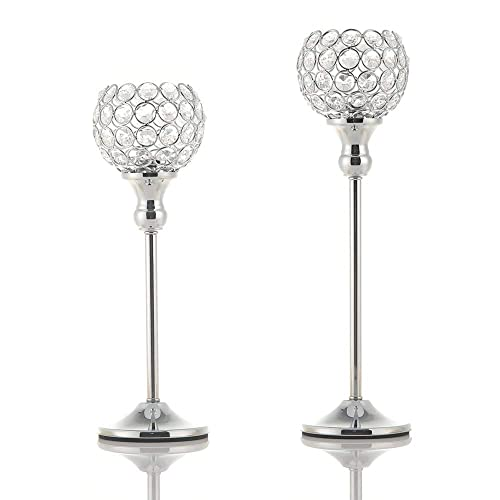VINCIGANT Silver Crystal Candle Holder,Wedding Table Centerpice,Ornaments for Living Room,Gift Box Package 33cm/&38cm Tall