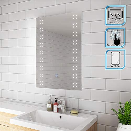 Glass 700mm x 500mm 500 mm Grey Hudson Reed LQ086 Vizor ǀ Modern Bathroom Touch Sensor LED Mirror with Built in De-Mister Pad