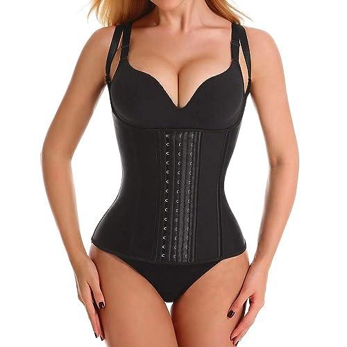 JerrisApparel Womens Waist Slimming Corset Latex Waist Trainer Body Shapewear