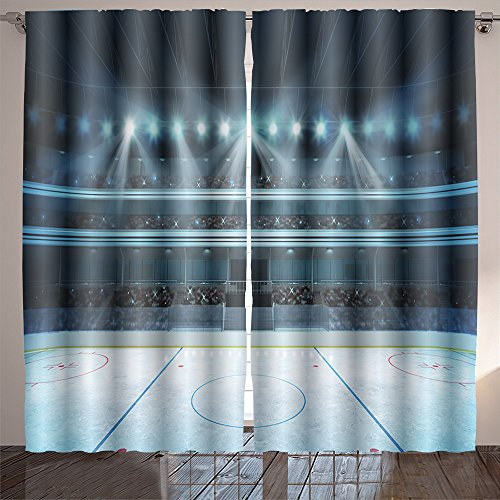 Amaparkhome Hockey Stadium With Fans Crowd And An Empty Ice Rink Sport Arena Rendering My Own Design Room Bedroom Curtains 2 Panels For Kids Room Window Treatments 84 X 54 Inche