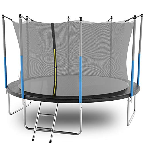 Combo Bounce Jump Trampoline AOTOB 15 FT Trampoline for Kids with Safety Enclosure Net,Ladder Trampoline for Kids,Spring Pad Ladder Adults/… Pink Outdoor Trampoline for Kids
