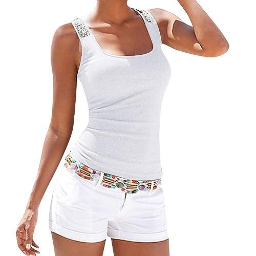 Tank Top,MILIMIEYIK Womens Tops Sleeveless Halter Racerback Summer Casual Shirts Basic Tee Shirts Cami Tank Beach Blouses