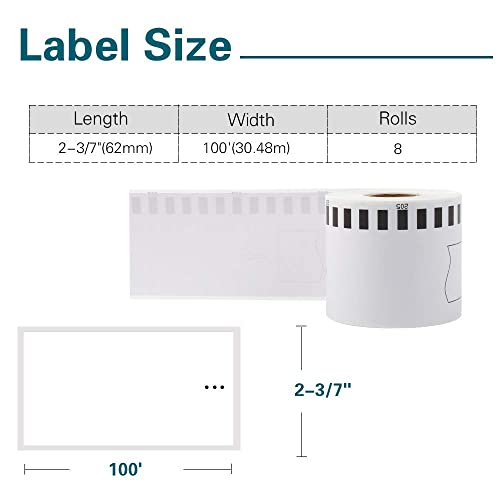 1 Frame Airmall-Compatible Label Replacement for Brother DK-2205 Continuous 2.4 X 100 Feet Replacement Labels,Compatible with QL 500 700 800 810W 820NWB 1060N Printer,5 Rolls