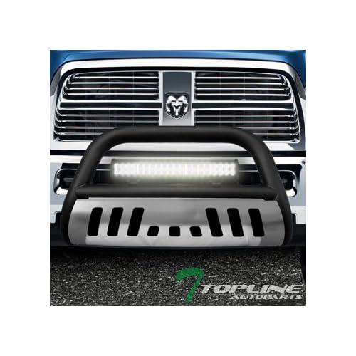 120W CREE LED Fog Light For 09-18 Dodge Ram 1500//19-20 Classic Topline Autopart Matte Black Bull Bar Brush Push Bumper Grill Grille Guard With Skid Plate