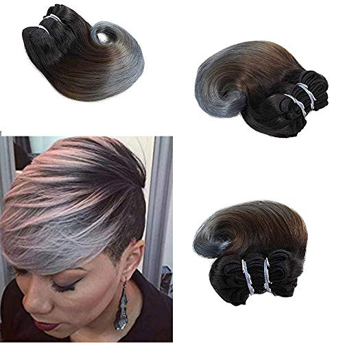 Zonghao Hair Ombre Grey Body Wave Virgin Brazilian Human Hair Bundles 100g Pack 8inch Short Hairstyle Weave Sew In Hair Extensions 1b Grey Buy Products Online With Ubuy Oman In Affordable Prices B07t7m98tt