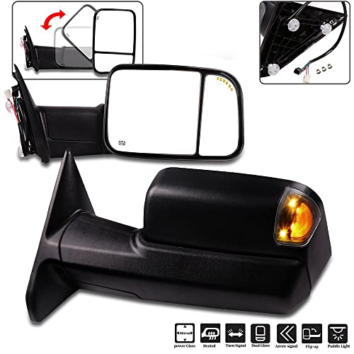 ECCPP High Performance Right Passenger Side Exterior Automotive Mirrors with Power Operation Heated Flip up Convex Glass Replacement fit for Dodge Ram 1500 2002-2008 Towing Mirrors