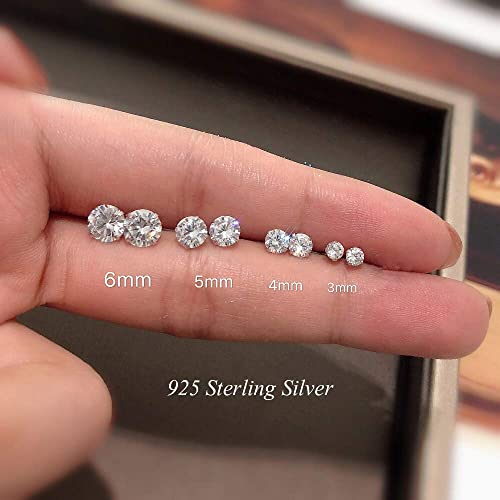 4 Size: 3 4 Pairs 925 Sterling Silver Zirconia Stud Earrings Set Hypoallergenic Small Sleeper Cartilage Studs with Cubic Zirconia Shuxin Silver Stud Earrings for Women 6mm 5 8 Different Colors