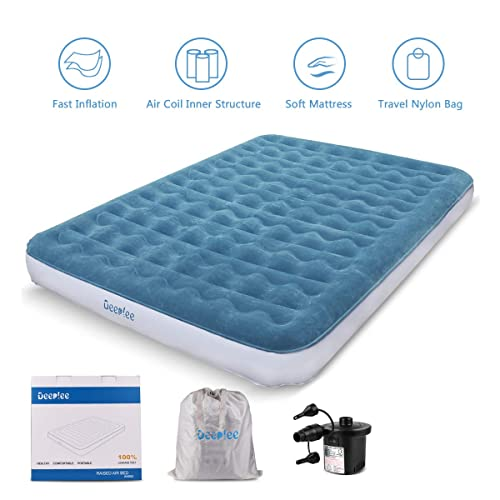Inflatable Air Bed,Single Size Camping Air Mattress,Elevated Inflatable Air Mattress,Portable and Rechargeable Electric Pump Comfort for In and Outdoor Use 191 x 99 x 46 cm
