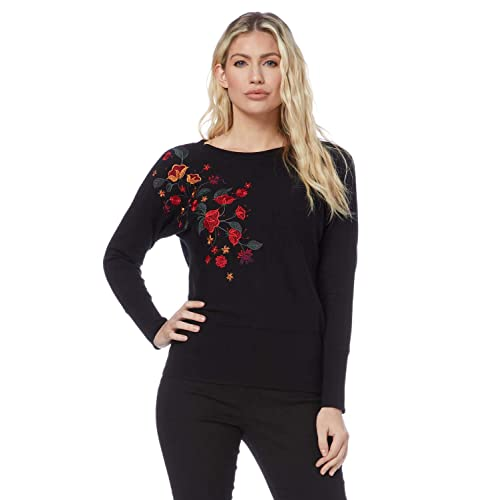 Ladies Round Neck 3//4 Sleeve Jersey Knit Boat Neckline Comfy Knitwear for Everyday Daytime Casual Work Smart Blouse Roman Originals Women Floral Print Border Top
