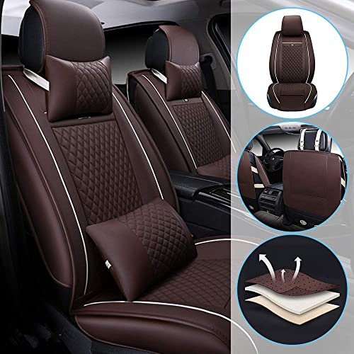 Gooogo 2Pcs Leather Carbon Fiber Leather Sport Car Seat Scat Pack Bee Neck Rest Pillow Foam Headrest Travel Cushion Travel Sleeping Cushion for Challenger Charger