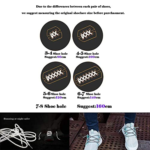 VASGO Sport Round Shoe Laces Reflective for Sport//Casual//Trainer Sneaker 5 Different Lengths Thick 12 Colors