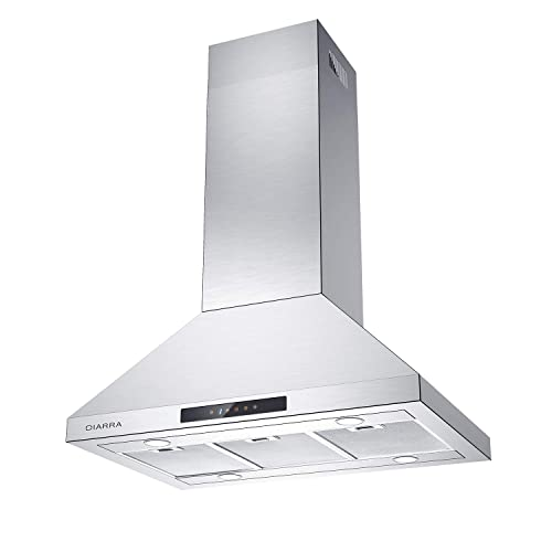 """36/"""" Stainless-Steel Hood Fan for Kitchen AKDY Island Mount Range Hood Mesh Filters /& LED Lights Minimalist Design Premium Touch Control Panel 3-Speed Professional Quiet Motor"""