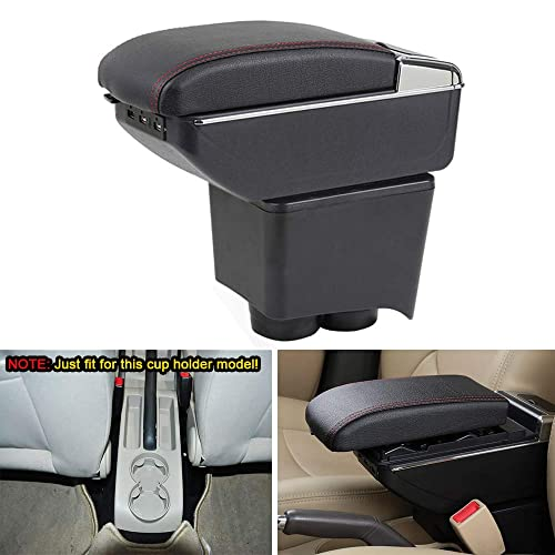 Fyuu Black PU Car Central Armrest Box Organizer with Cup Holder /& Removable Ashtray Center Console Box Expansion Storage Capacity More Comfortable Movable Armrest pad DIY Modified
