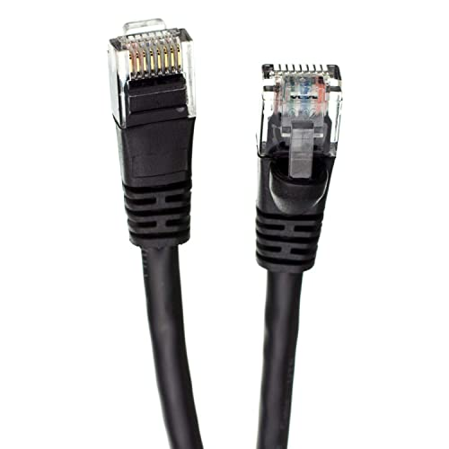 CABLECHOICE Cat5e Ethernet Cable 1Gigabit//Sec High Speed LAN Internet//Patch Cable 350MHz 50-Pack - 6 Feet Black 24AWG Network Cable with Gold Plated RJ45 Snagless//Molded//Booted Connector