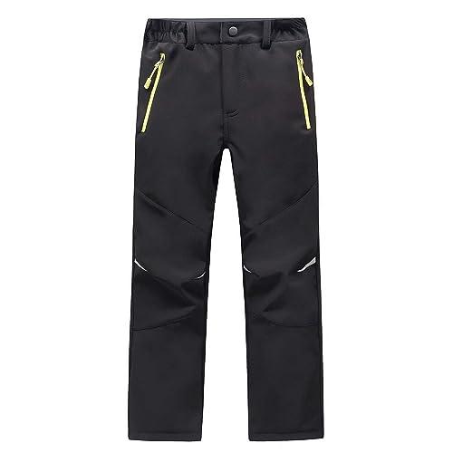 LANBAOSI Kids Winter Softshell Trousers Boys Girls Fleece Lined Waterproof Walking Hiking Trousers Zipper Pockets