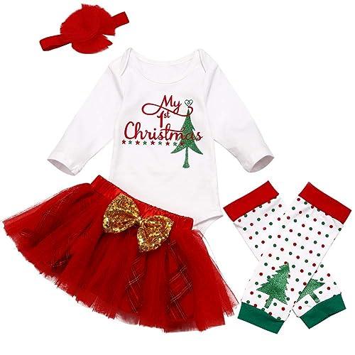 KANGKANG Baby Girl First Christmas Tutu Dress Outfit My 1st Christmas Romper Headband Leg Warmers