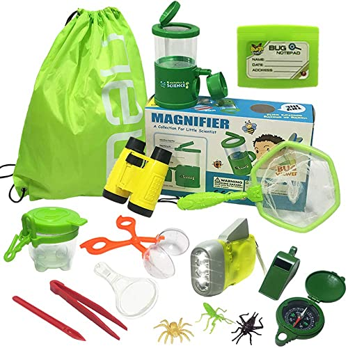 Critter Case Outdoor Toys Gift for Boys /& Girls Age 3 Insects 25 PCS Nature Exploration Kit /& Bug Catcher Kit with Binoculars Outdoor Explorer Kit Flashlight Magnifying Glass Compass