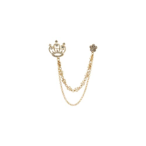 A N KINGPiiN Lapel Pin for Men Elegant Golden Crown with Stone Detailing Hanging Chain Metal Brooch Costume Pin Suit Stud Shirt Studs Mens Accessories