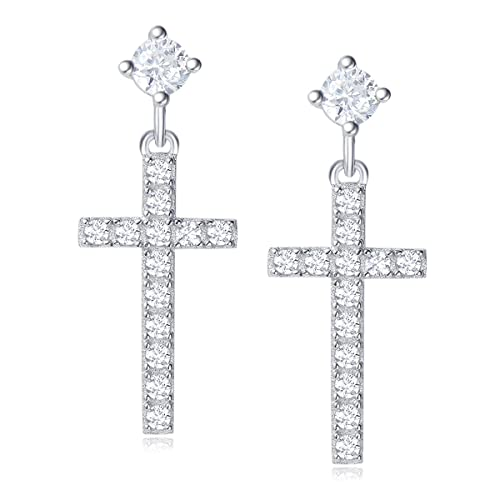 0.38cttw, I-J Color, SI2 Clarity Carleen 14k Solid Yellow Gold Round Diamond Dangle Drop Bar Earrings For Women Girls