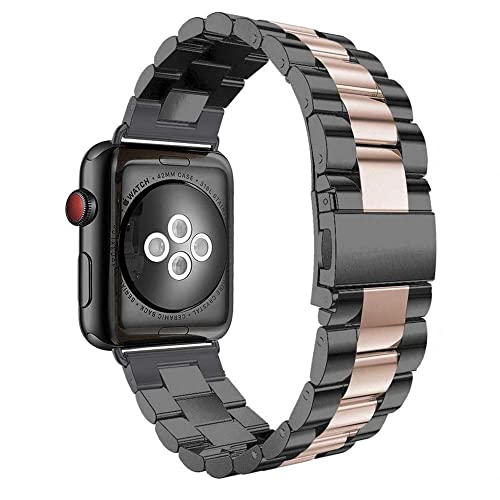 Aottom Compatible For Apple Watch Band 44mm 42mm Iwatch Series 6 5 4 3 Se Band Stainless Steel Metal Bracelet Wristband Replacement Band For 42mm 44mm Apple Watch Se Series 6 5 4 3 2 1 Black Rose Gold Buy Products Online