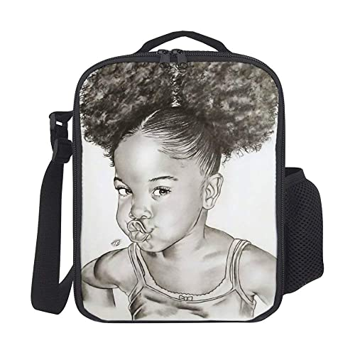SARA NELL Kids Lunch Backpack Lunch Box Black Art African American Girl Afro Girls Lunch Bag Large Lunch Boxes Cooler Meal Prep Lunch Tote With Shoulder Strap For Boys Girls Teens