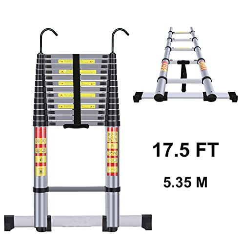Yvan Telescoping Ladder 8.5 FT One Button Retraction Aluminum Telescopic Extension Extendable Ladder,Slow Down Design Multi-Purpose Compact Ladder for Household Daily or Hobbies,330 Lb Capacity/…