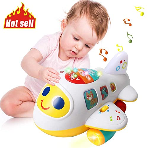 Electronic Moving Toys for 1 2 3 4 Year Old HISTOYE Baby Development Toys Baby Airplane with Lights and Music Musical Toys to Encourage Crawling for Toddlers 6 9 12 18 Month Old