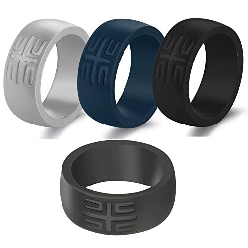 YesFit Silicone Wedding Ring for Men 1 Pack// 4 Pack Mens Classic Breathable Rubber Wedding Ring for Men Pure Black//Grey Color Thin Silicone Sports Bands with Gift Metal Box