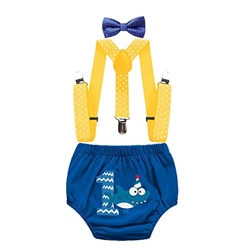 IZKIZF Baby Boy 1st Birthday Shark Cake Smash Outfits Diaper Suspenders Bow Tie