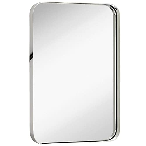 Buy Hamilton Hills Contemporary Polished Metal Wall Mirror Glass Panel Polished Silver Framed Rounded Corner Deep Set Design Mirrored Rectangle Hangs Horizontal Or Vertical 16 X 24 Online In Oman B07tn3w18x