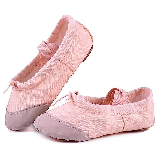 Toddler//Little Kid//Big Kid SHC553 LONSOEN Ballet Slipper Shoes Stretch Satin Ballerinas Dance Yoga Flats with Pure Ribbons for Girls