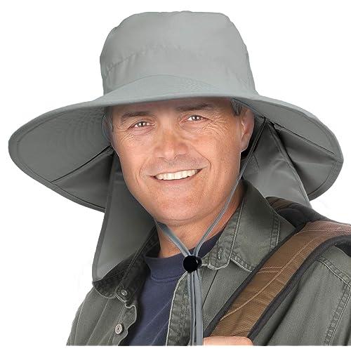 Tirrinia Mens Wide Brim Sun Hat with Neck Flap Fishing Safari Cap for Outdoor Hiking Camping Gardening Lawn Field Work