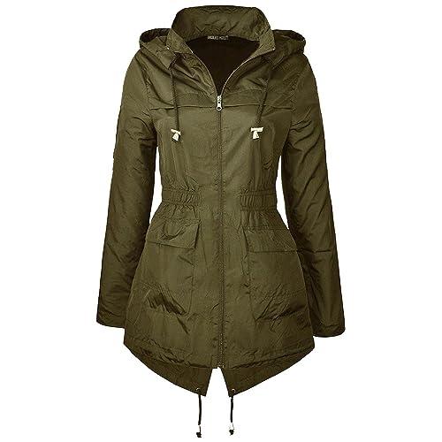 Womens Abstract Splash Print Zip Parka Mac Jacket Showerproof Hooded Raincoat