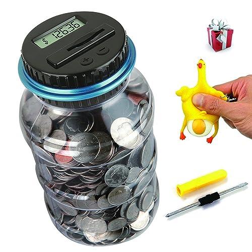 Vingtank Digital Counting Coin Bank Savings Jar Creative Large Electronic Counting Money Saving Box with LCD Display Coins Saving Gift Dollar
