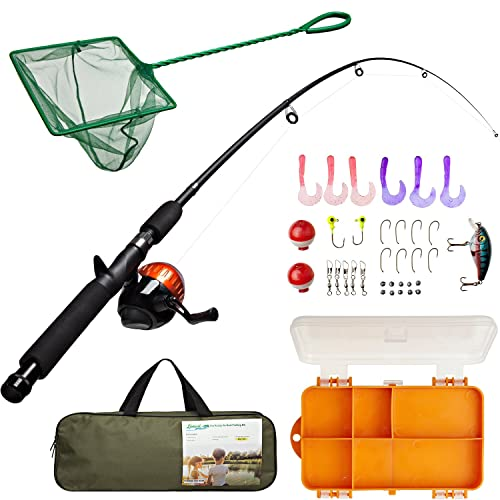 Leo Light Weight Kids Fishing Pole Telescopic Fishing Rod and Reel Combos with Full Kits Lure Case and Carry Bag for Youth Fishing and Beginner