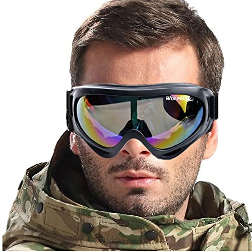 LJDJ Motorcycle Goggles Dirt Bike ATV Motocross Eyewear Anti-UV Adjustable MX Riding Offroad Protective Glasses Racing Combat Tactical Military Goggles for Men Women Youth Adult