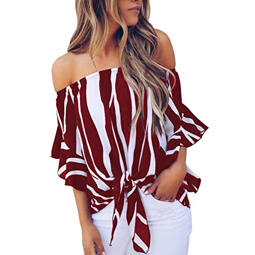 LuckyMore Womens Casual Halter Long Sleeve Off Cold Shoulder Tops Shirts Loose Blouses