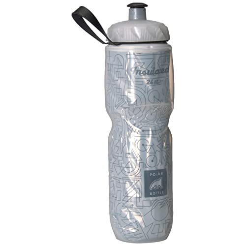 1 or 2-Pack Polar 24oz Bike Lines Insulated Cycling Water Bottle White /& Black