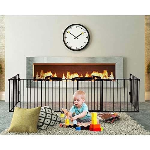 Wall-Mount Metal Gate for Pet /& Child Costzon Baby Safety Gate Wide Barrier Gate with Walk-Through Door in Two Directions 3-in-1 Fireplace Fence Plastic, 8-Panel