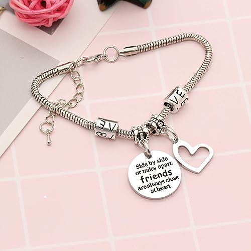 YONGHUI Best Friends Charm Adjustable Snake Bangle Bracelets For Women Girls Friendship Bracelet Gifts Side by Side Or Miles Apart Friends Are Always Close At Heart Silver