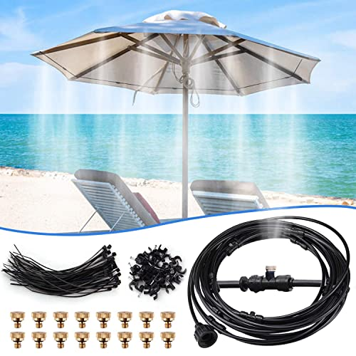 FOLUXING 32.8Ft Misting System Outdoor Cooling Mist System Drip Irrigation Mister with 10pcs Misting Nozzle Spinklers for Home Garden Patio