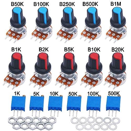 2pcs black Aluminum alloy knob TWTADE//2Pcs 100K Ohm Single Linear Taper Potentiometers with on//off Switch
