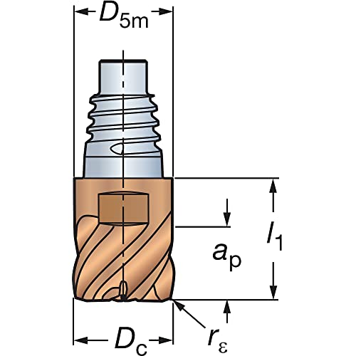 3 Flutes 90 Degree Entering Angle Sandvik Coromant Solid Carbide Indexable Milling Tool